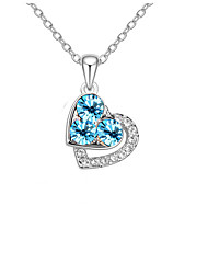 Women's Pendant Necklaces Crystal Chrome Love Heart Fashion Personalized Euramerican Gold Silver Light Blue Jewelry ForWedding Party