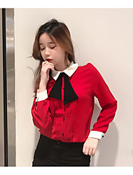 Women's Going out Simple Blouse,Solid Shirt Collar Long Sleeve Cotton