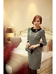 Women's Going out Sexy A Line Dress,Print Round Neck Knee-length Long Sleeve Polyester Spring Mid Rise Micro-elastic Medium