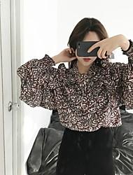 assinar ~ Coréia Seul temperamento babados feixe levou camisa print floral
