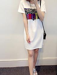 mulheres de grande porte de gordura mm vestido estampado verão foi fina e longas seções irmã de gordura ocasional t-shirt de manga curta