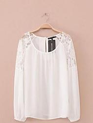Tee-shirt Femme,Couleur Pleine Plage simple Manches Longues Col Arrondi Coton