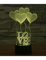 Valentine's Day Four LOVE 3D Lights Colorful Touch Visual Three-Dimensional Energy Saving Gradient Lamp
