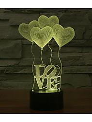 Día de San Valentín cuatro amor 3d luces colorido táctil visual tridimensional ahorro de energía lámpara de gradiente