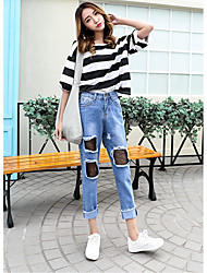 Women's Straight Jeans Pants,Going out Casual/Daily Street chic Solid Ripped Mesh Mid Rise Zipper Button Cotton Inelastic Spring