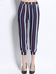 Women's Mid Rise Inelastic Chinos Pants Street chic Loose Harem Chiffon Striped Rainbow Polyester Blue Spring /Summer