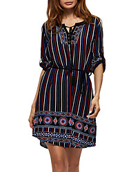 Women's Casual/Daily Work Simple Sheath Lace Dress,Solid Striped Round Neck Above Knee Sleeveless Polyester All Seasons Low Rise