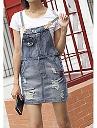 Sign spring and summer 2017 new Korean OEM rubber strap hole masticate denim skirt female