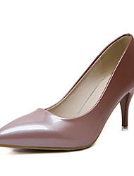 Da donna-Tacchi-Formale-Club Shoes-A stiletto-Vernice-Nero Tessuto almond