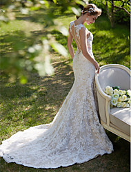 Mermaid / Trumpet Jewel Court Train Lace Wedding Dress with Appliques Button by LAN TING BRIDE®