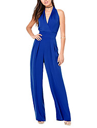 Women's High Rise Beach Party Jumpsuits,Sexy Wide Leg Backless Solid Summer