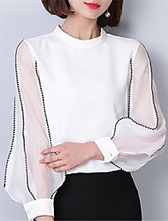 Women's Going out Casual/Daily Street chic Spring Summer Blouse,Solid Stand Long Sleeve Polyester Medium