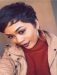 -Peluca bricolaje cortas rectas negro pelucas sin tapa cabello humano del pelo del pelo suave y esponjosa para las mujeres elegantes
