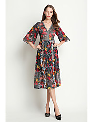 Women's Going out Casual/Daily Cute A Line Dress,Floral V Neck Midi ¾ Sleeve Others Summer Mid Rise Inelastic Medium