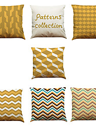Set of 7 Golden Art Abstract Geometry Pattern Linen  Cushion Cover Home Office Sofa Square  Pillow Case Decorative Cushion Covers Pillowcases