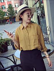 koreanische Version war dünn lose literarisch retro Tasche Normallackbaumwoll Langarmhemd lässiges Shirt weiblicher Herbst