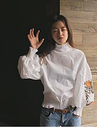 Women's Casual/Daily Cute Shirt,Embroidered Turtleneck Long Sleeve Cotton
