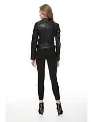 Women's Casual/Daily Simple Fall Winter Leather Jacket,Solid Shirt Collar Long Sleeve Regular PU