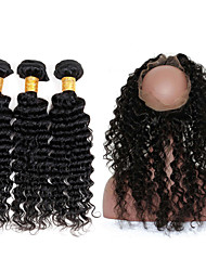 Visteen Brazilian Unprocessed Deep Wave with 360Lace Frontal Closure Human Hair Extensions Dyeable Great Quality Hair Weave Bundles Virgin Hair