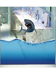 Shark Seamless Splice 3D Seawater PVC Glass Stickers Decoration for The Bathroom