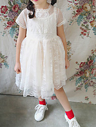 Girl's Going out Casual/Daily School Solid Dress,Cotton Summer Spring Short Sleeve