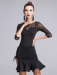 Latin Dance Dresses Women's Performance Milk Fiber Ruffles 1 Piece Half Sleeve Natural Dress