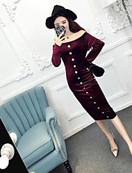 signe femmes coréennes rétro paquet hanche col robe sexy robe robe de velours d'or