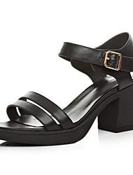 Feminino-Saltos-Sapatos clube-Salto Grosso Salto de bloco--Pele-Casual