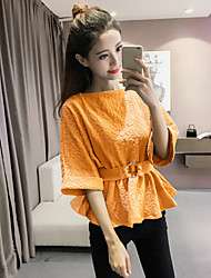 Women's Flare Sleeve Casual/Daily Work Cute Street chic Sophisticated Spring Summer Blouse,Solid Round Neck ½ Length Sleeve Cotton