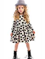 Girl's Casual/Daily Polka Dot Dress,Cotton Fall Long Sleeve