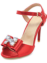 Women's Sandals Spring Summer Slingback Club Shoes Leatherette Party & Evening Dress Stiletto Heel Rhinestone Bowknot Buckle
