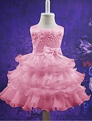 Robe de bal courte / mini robe de fille fleur - organza sans manches cravate avec applique