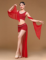 Dança do Ventre Roupa Mulheres Treino Elastano Modal Pano 2 Peças Sem Mangas Caído Saia Topo :30 :34