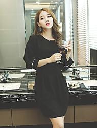 Sinal 2016 mulheres coreanas slim fino pacote hip puff manga vestido
