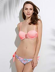 De las mujeres Bikini-Boho Push-Up / Sujetador Acolchado / Sujetador con Soporte-Halter-Nailon / Espándex
