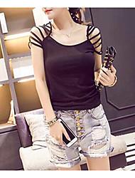 2016 nuevas mujeres coreanas de la manera&# 39; s de vestir slim strapless de manga corta de manga corta camiseta mujer