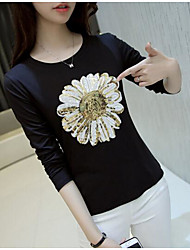 Sign sequined flowers 2017 spring cotton long-sleeved T-shirt women Hitz Slim thin coat