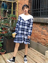 Sign College Wind retro plaid long-sleeved dress spell color sweet and lovely woman