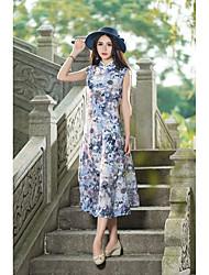 Новые женщины&# 39; s литературный стиль воротник без рукавов жилет платье платье