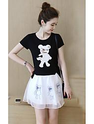 знак 2017 весной и летом украшения тела была тонкая часть панда вышитой органзы платье слоеного