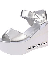 Women's Sandals Summer Mary Jane Leatherette Outdoor Party & Evening Dress Wedge Heel Buckle Walking