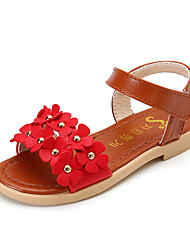 Girls' Sandals Summer Comfort Leatherette Outdoor Office & Career Party & Evening Dress Casual Flat Heel Applique