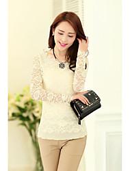 Spring new Women Korean Slim round neck long-sleeved lace shirt gauze shirt shirt