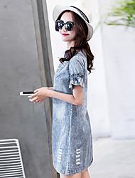 uma nova magro estava vestido de verão fina versão coreana de manga denim mulheres vestido de saia pétala doces