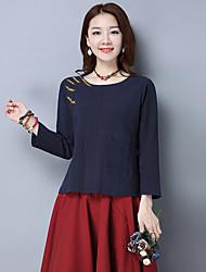 coton femmes t-shirt 2017 nouvelle grande taille casual manches longues chemise de lin brodé compatissants verges en vrac grands