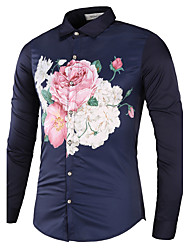 Men's Casual/Daily Work Beach Vintage Simple Spring Fall Shirt,Floral Classic Collar Long Sleeve Cotton Polyester Thin