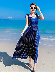 2017 spring new long section Polka Dot Dress Bohemia harness dress sleeveless dress