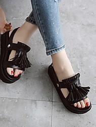 Damen-Loafers & Slip-Ons-Lässig-SchweinelederLeuchtende Sohlen-Weiß Schwarz