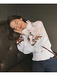 Feminino Camiseta Casual SimplesSólido Algodão Colarinho Chinês Manga Longa