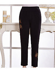 Femme Chinoiserie Taille Normale Extensible Chino Pantalon,Ample Couleur Pleine